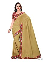 Shree laxmi creations women,s khaki colour chiffon saree