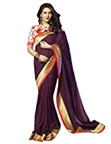 Roop Kashish Georgette Satin Chiffon Saree With Border Saree(10827_Purple)