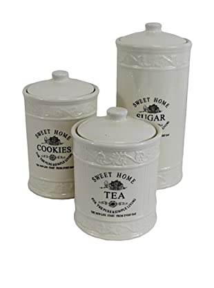 Set of 3 Canisters: Cookies, Tea and Sugar
