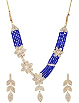 Lucky Jewellery Blue Alloy Chain Crystal Necklace Set for Women (964-TSC-B)
