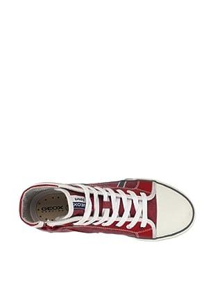 Geox Kid's Kiwi Mid-Top Sneaker (Red/Grey)