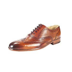 OneHugeStep Men's Dark Cognac Leather Wingcap Brogue Oxford Shoes (A023)-UK 12