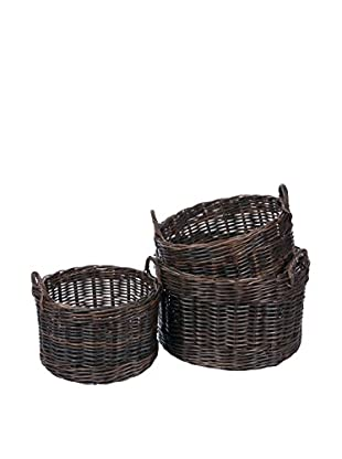 Skalny Set Of 3 Rattan Storage Baskets, Brown