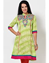 3/4Th Sleeve Printed Green Kurta
