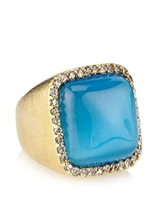 Rivka Friedman CZ Bezel Bold Cushion Blue Cat's Eye Crystal Cabochon Ring