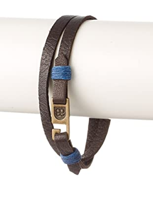 Griffin Chocolate Legend Leather Double Wrap Bracelet