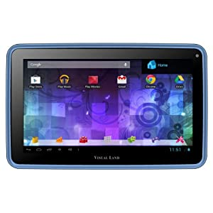 "Visual Land Prestige PRO 7D-TC - 7"" Dual Core 8GB Android Tablet with Case, JellyBean4.1, Google Play (Sky Blue)"