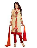 Suchi Fashion Cream & Red Straight Fit Faux Georgette Semi Stitched Suit
