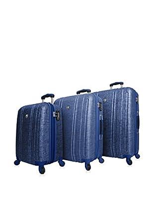 Mia Toro 3-Piece Macchiolina Abrasa Hardside Spinner Luggage Set