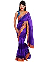 Diva Women's Organza Saree (Purple Blue )