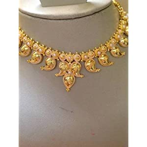 Jewellery - South Indian bride temple jewelry mango mala necklace with earring