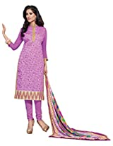 Suchi Fashion Purple Embroidered Chanderi Semi Stitched Salwar Suit