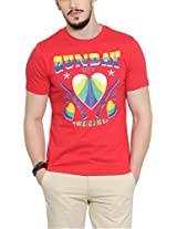 Yepme Men's Red Graphic T-shirt -YPMTEES0244_L