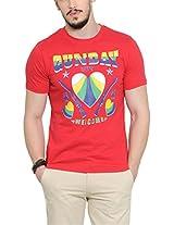 Yepme Men's Red Graphic Cotton T-shirt -YPMTEES0244_L