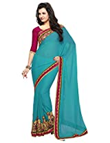 Mahotsav Women's Chiffon Saree (8122, Teal Blue)