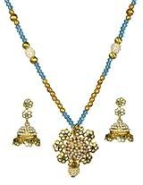 Kshitij Jewels Blue Metal Pendant Necklace Set For Women (KJ 166)