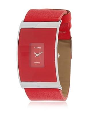 My Silver Reloj Reloj Cuero Rojo
