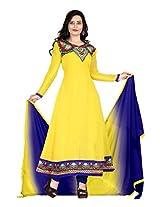 Vardhamn Women's SAKH1 Yellow Georgette Unstitched salwar suit dress material