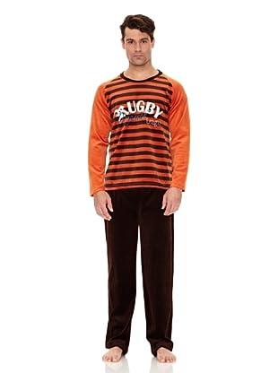 Bluedreams Pijama Caballero Tundosado (Naranja)