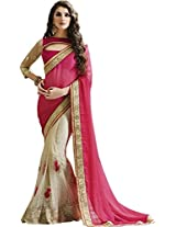 Indian Fashionista Magenta Light colour Embriodery Bollywood Georgette & Silk Saree