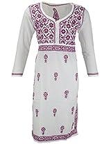 PR Chikans Women's Cotton Kurti (White, Large)