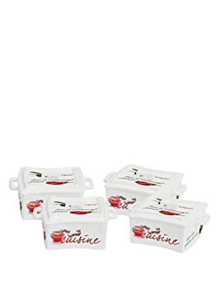 Easy Life Design Set 4 Mini Casseruole da Forno in Porcellana Cuisine 6 x 6 cm