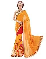 Inddus Women Orange Half & Half Georgette & Chiffon Printed Fashion Saree