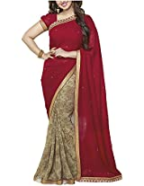 SHS Women's Georgette Saree (Maroon)
