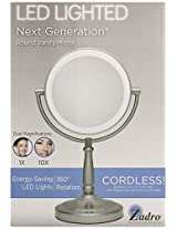 Zadro 10x Mag Next Generation LED Cordless Double Sided Round Vanity Mirror, 9-Inch, Satin Nickel Finish