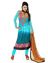 B3Fashion semistitched Sea green/Green shaded georgette party wear suit with 3 quarter sleeves and floral embroidered neckline on mustard jacquard yoke & back with coordinating embroidered floral patchwork mustard colour chiffon dupatta and santoon sea green bottom