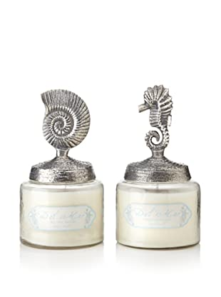 Set of 2 Del Mar Jar Candles with Shell and Seahorse Lids