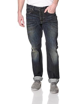 Rockstar Denim Men's Distressed 5 Pocket Slim Fit Jean (Dark Wash)