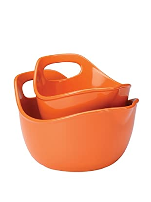 Rachael Ray Stoneware 2-Piece Set:  1 Qt. & 2 Qt. Mixing Bowls (Orange)