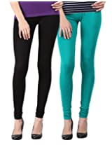 Blackmilan Women's Leggings (ZBMWL-1004-Black-Green_Multi-Coloured_Small)