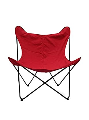 LO+DEMODA Set Silla 2 Uds. Butterfly Canvas Rojo