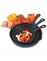 Heuck 33002 Pre-Seasoned Cast-Iron 3-Piece Skillet Set
