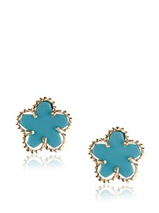Frida Girl Gold & Blue Enamel Flower Earrings
