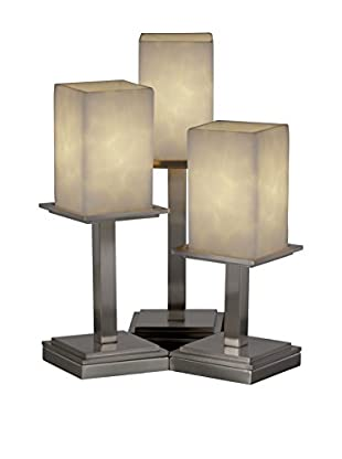 Justice Design Clouds 3-Light Montana Table Lamp, Brushed Nickel