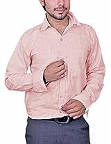 Mc-John Mens Linen Formal Shirt -Pink -X-Large