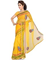 Embroidered Yellow Saree Ishin