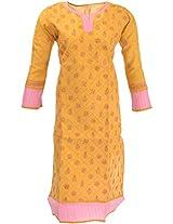 Lucknow Chikan Industry Women's Cotton Straight Kurta (LCI-355, Brown, L)