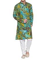 Shaliindia Men Cotton Long Kurta Nehru Collar 3 pockets,M-CLK48-1009,Green,Size-48 Inch