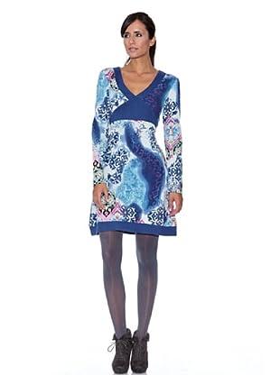 Peace & Love Vestido Estampada Acuarela (Azul)