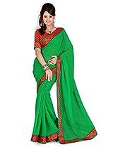 Cenizas Solid Embellished Georgette Sari