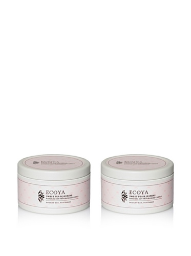 Ecoya Set of 2 Sweet Pea & Jasmine 6-oz. Everyday Tins