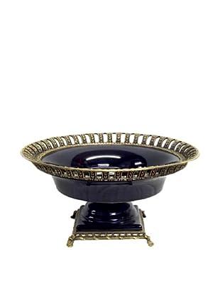 Solid Black Round Footed Ormolu Bowl