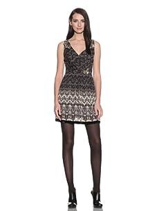 Charlotte Ronson Women's Draped Dress with Velvet Trim (Charcoal)