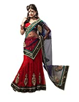 Anvi Creations Bridal Embroidered Net Lehenga Choli (Red and Blue_Free Size)