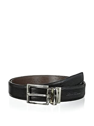 Leone Braconi Men's Minipaglia Reversible Belt (Black/Testa Moro)