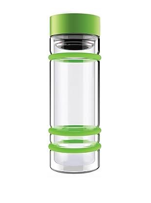 AdNArt Bumper Bottle Double Wall Glass Bottle (Green/Green Lid)